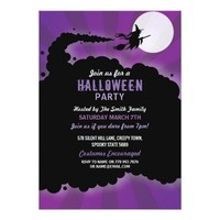 Halloween Party Witch Scary Scare Purple Invite