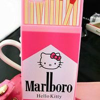 Cute pink Matchbox Hello Kitty Bow Silicone case soft Cover for iPhone6S plus 5S