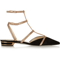 René Caovilla - Crystal-embellished satin and suede point-toe flats