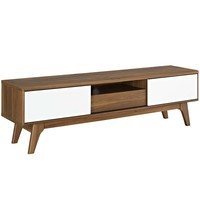"""Envision 59"""" TV Stand Walnut White EEI-2540-WAL-WHI"""