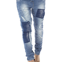 Boyfriend jeans with patch detail