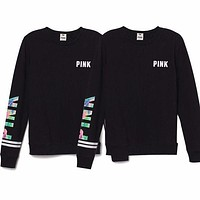 Victoria's Secret PINK Letter Print Round neck Long-sleeves Pullover Tops T-shirt [2974244274]