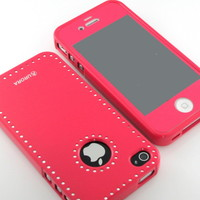 G&J Premiere Pink Swarovski Hard Tpu case cover + Pink Screen for iPhone 4 4S 4G