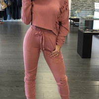 2 piece Women Pants and Crop Top Suit Sexy Hollow Out Sexy Holes Sportswear Tracksuit