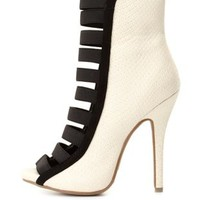 Elastic-Caged High Heel Booties by Charlotte Russe