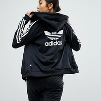 adidas Originals Slim Full Zip Hoodie In Black at asos.com