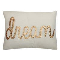 Dream Sequin Script Pillow