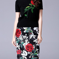 Black Knit Rose Embroidered Bodycon Two Piece Dress