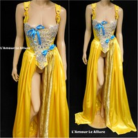 Belle Yellow Rhinestone Medieval Renaissance Ball Gown Dress Skirt with Corset and Blue Bows