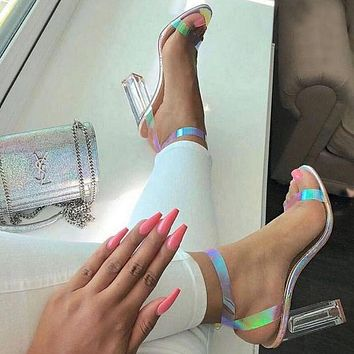 Fashion colour sequins crystal thick super high heel sandals with large size
