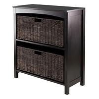 Attractive 3pc Storage 3-Tier Shelf with 2 Large Baskets by Winsome Woods