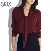 2017 spring new women clothing long-sleeved bow tie shirt Korean loose chiffon shirt women solid color blouse 699C  30