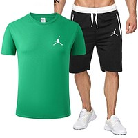 JORDAN Fashion Men Casual Print Short Sleeve Top Shorts Sport Set Two-Piece Green