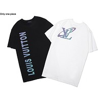 Louis vuitton hot seller of reflective monogram print short-sleeved tops and stylish casual couple t-shirts