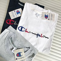 CHAMPION Classic C Letter Couples Wild Embroidery Short Sleeve T-Shirt F0445-1