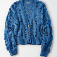 AE Pointelle Button Front Cardigan