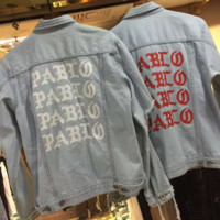 PABLO Fashion Casual Long Sleeve Print old wrecking denim jackets
