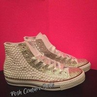 DCCK8NT couture pearl and crystals custom converse
