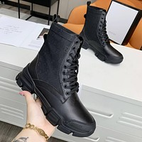 Gucci GG hot sale ladies leather stitching sexy fashionable women high top shoes