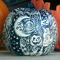"White Halloween Pumpkin with One of a Kind 'Whimsical Wandomness""! Introductory price good UNTIL October 10th!!"