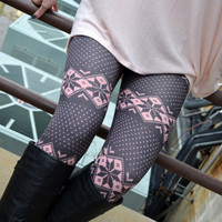 Gum Drop Pink Snowflake Leggings