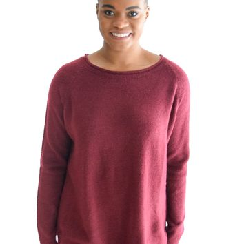 Pure Bliss Sweater In Burgundy