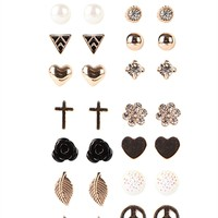 Set of 20 Stud Earring Pairs with Hearts and Stones