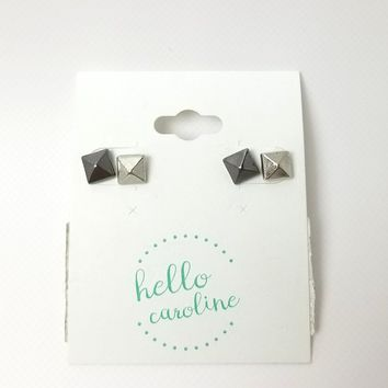 Two Tone Metal Pyramid Stud Earrings Set - Silver/Gunmetal