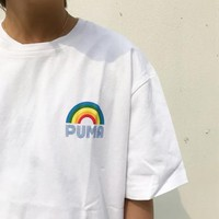 PUMA New fashion letter rainbow print couple top t-shirt White