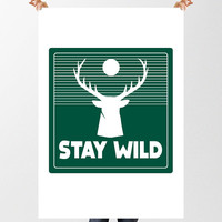 Stay Wild Printable Art, Stag Print, Kids Room Decor, Boys Wall Art, Camp, INSTANT DOWNLOAD, Deer, Wilderness, Modern Nursery, New baby Gift