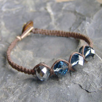 Hemp Bracelet - Brown w/ Montana Sapphire Crystal Glass Beads - Hemp Jewelry