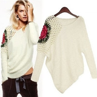 White Stunning One Shoulder Flower Knitted Asymmetrical Pullover Long Sleeve Sweater = 1920167876