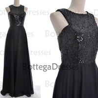 Black Prom Dresses, Sequin Prom Dresses, Sequin Chiffon Long Prom Dresses, Sequined Evening Gown, Sequin Formal Dresses