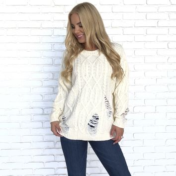 Lounge Distressed Cable Knit Sweater in Ivory