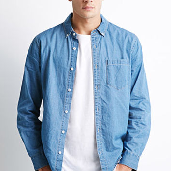 Button-Collar Chambray Shirt