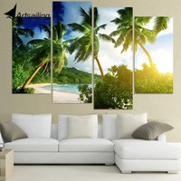 4 Pcs Canvas Art Canvas Painting Tropical Palmy Trees HD Printed Wall Art Home Decor Poster Wall Pictures for Living Room XA278B