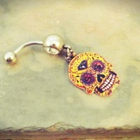 Day of the Dead Skull Belly Button Ring Navel Jewelry Mustard Yellow