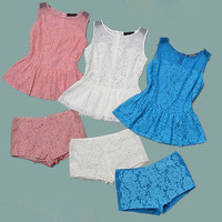 Flower lace top and shorts
