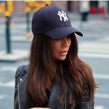 Unisex Clean Up Adjustable Baseball Cap Ny Navy Blue White Letters