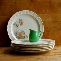 Vintage Taylor Smith Lunch Plates, Morning Glories, Lot of Six, 1950s Cottage and Retro Decor