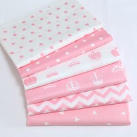100% cotton pink series 1 cm dots chevron tri angle crown twill cloth for DIY kids crib bedding dress handwork patchwork fabrics