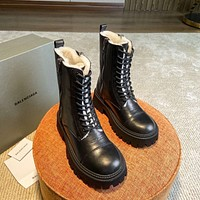 BALENCIAG  Trending Women's men Leather Side Zip Lace-up Ankle Boots Shoes High Boots