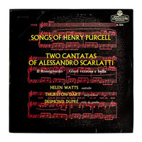 """Typographic record album design, 1957. """"Songs of Henry Purcell / Two Cantatas of Alessandro Scarlatti"""" LP"""