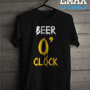 Beer O'clock T-shirt, Funny Tshirt Beer, Sayings Clothes, Unisex 100% Cotton Shirts