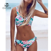 CUPSHE Double Knot Floral Print Bikini Sets Women Sexy Thong Two Pieces Beach Bathing Suits 2019 Girl Boho Swimwear