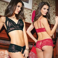 Sexy Fashion Solid Color Lace Hollow Strap Underwear Lingerie Set