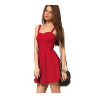 Janecrafts Women's New Fashion Celebrity Fit-and-Flare Backless Strappy Dresses