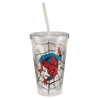 Vandor 26151 Spider-man 18 oz Acrylic Travel Cup with Lid and Straw, Multicolor