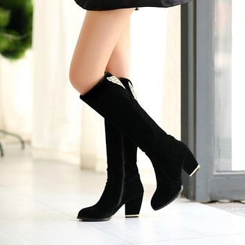 Fashion Women Knee High Boots for Autumn and Winter New Arrive Side Zipper 8304