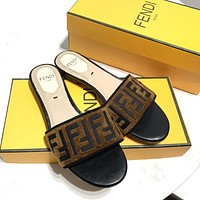 FENDI Classic Fashionable Women Leisure Flat Slippers Sandals Shoes